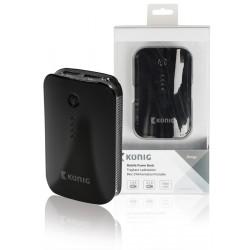 Konig 7800mAh compacte powerbank voor o.a. tablet en smartphone (zwart)