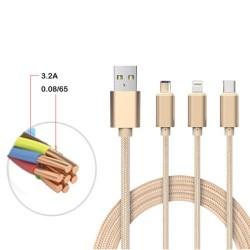 Multfunctionele laadkabel met 8pin(1x) , USB-C (1x) en micro usb (1x)